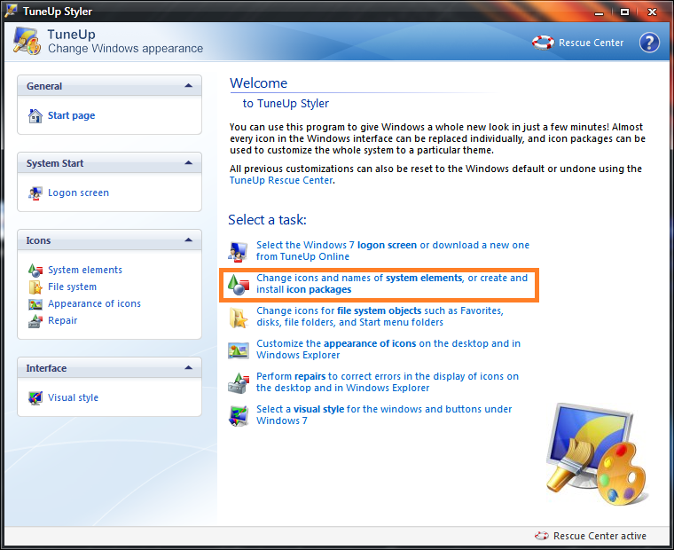 how to change application icon windows 7